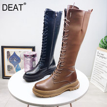 [DEAT] 2019 Round Toe Front Bandage Casual Personality Pu Leather Velvet Women Long Boots New Autumn Winter Fashion Tide 10E838(China)