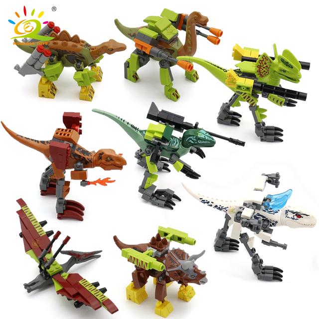 HUIQIBAO 8pcs/set Jurassic Dinosaur Building Blocks Tyrannosaurus World Rex Velociraptor Park Figures Bricks children Toys