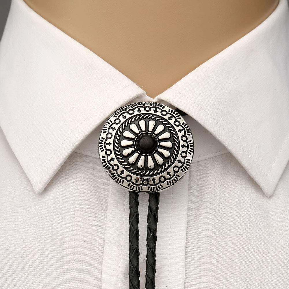 Metal Round Pandent  Bolo Tie For Man Indian Cowboy Western Cowgirl Leather Rope Zinc Alloy Necktie