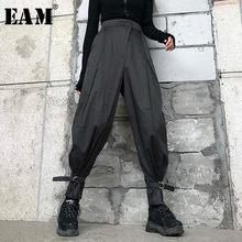 EAM-pantalones bombachos largos de cintura alta para mujer, calzas holgadas de corte Irregular para primavera y verano, 2021, 1W418