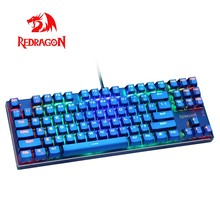Redragon K566B RGB Aluminium USB Mechanical Gaming Keyboard Blue Switch Ergonomis LED Backlit 87 Kunci Kabel Komputer PC Gamer(China)