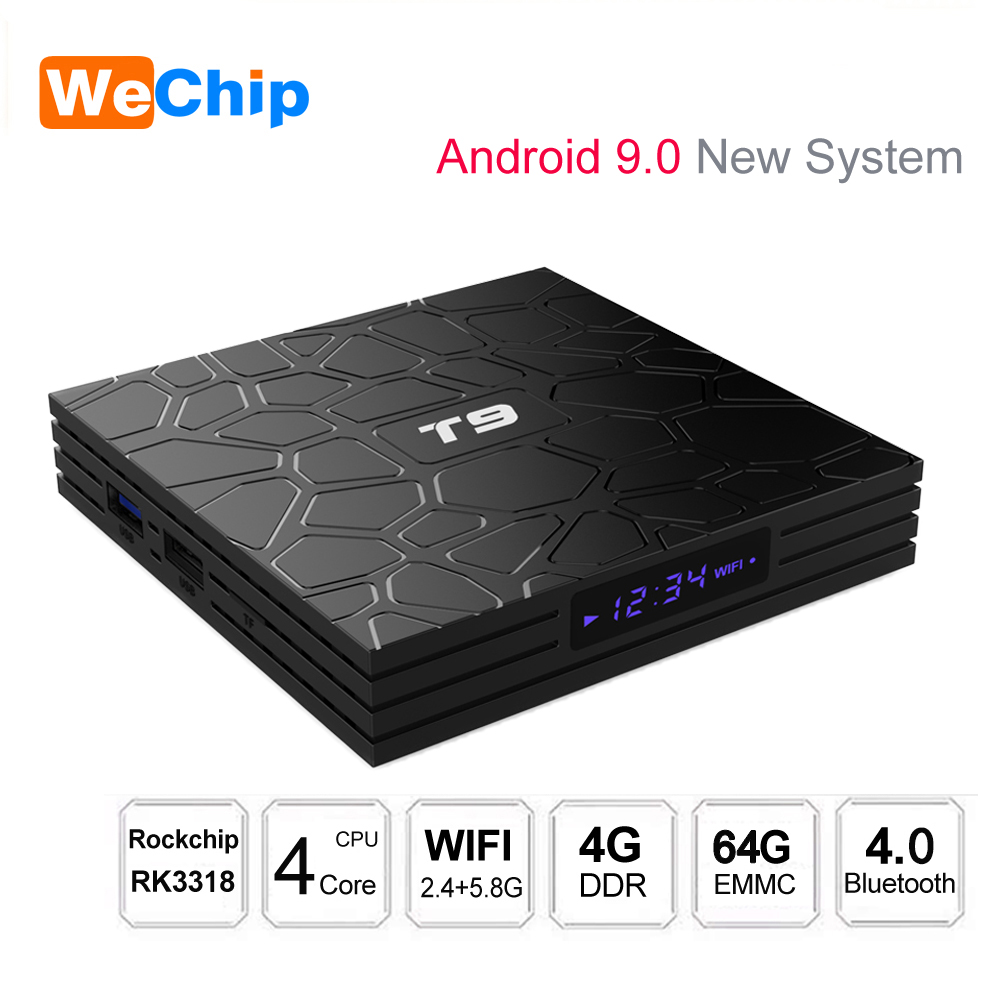 T9 TV Box Android 9.0 RK3318 4GB 32GB/64GB 1080P H.265 Media Player 4K HD 2.4G&5G Dual Wifi BT 4.0 Set Top Box Support 3D Moive