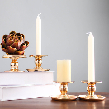 Wedding party candle cup tray small candlestick metal iron gold candle holder home decoration living room accessories
