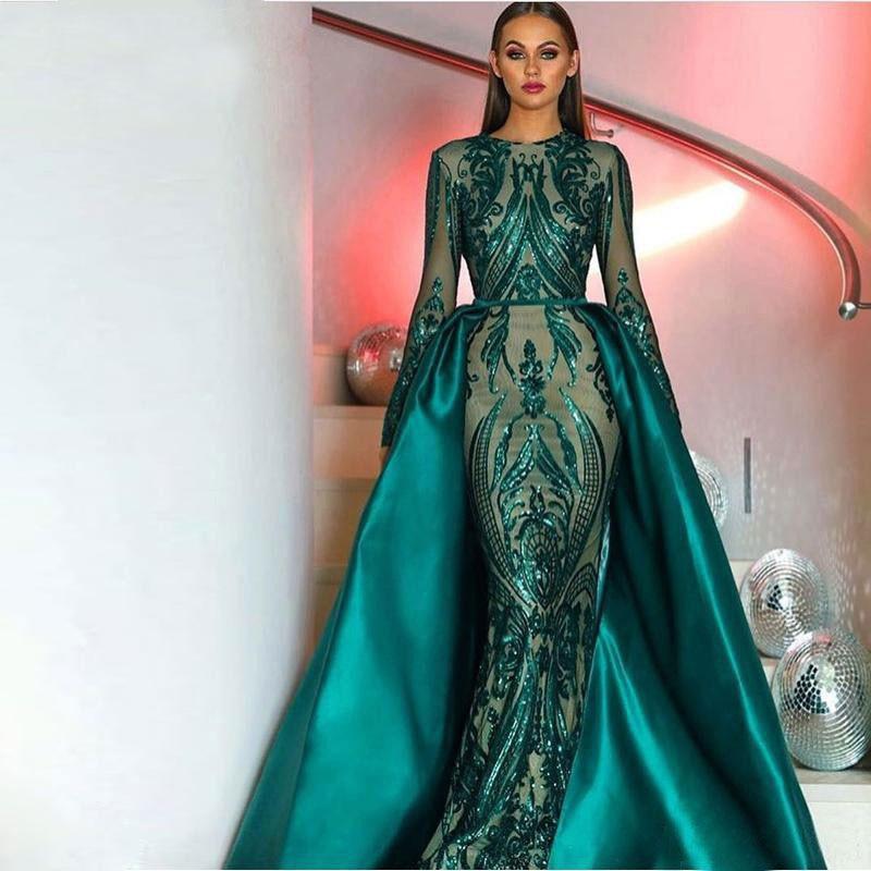Muslim Hot Sale Elegant Dark Green Long Sleeves Evening Dresses Detachable Train Sequin Bling Moroccan Kaftan Formal Party