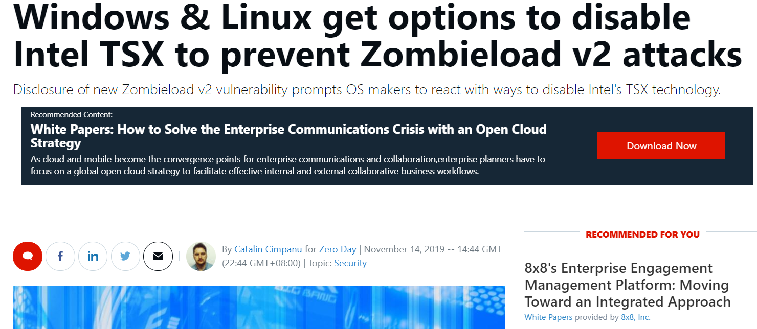 关闭Intel TSX 防止Zombieload v2 漏洞攻击
