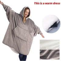 Novo velo cobertor com mangas ao ar livre com capuz cobertores de bolso quente macio hoodie slant robe roupão moletom pulôver
