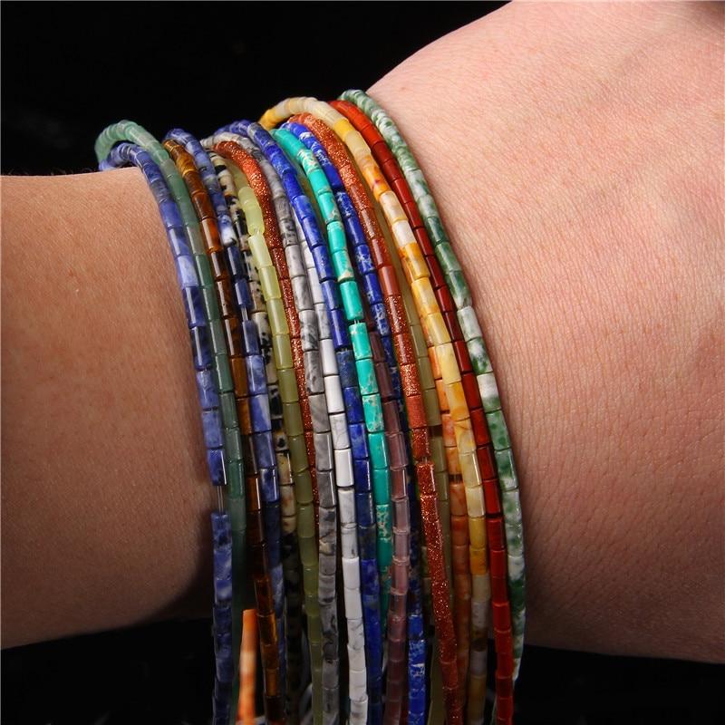38types Gemstones Tube Beads For Jewelry Making Natural Jaspers Column Tubular Bead Jad Crystal Cylindrical Beads Diy 15