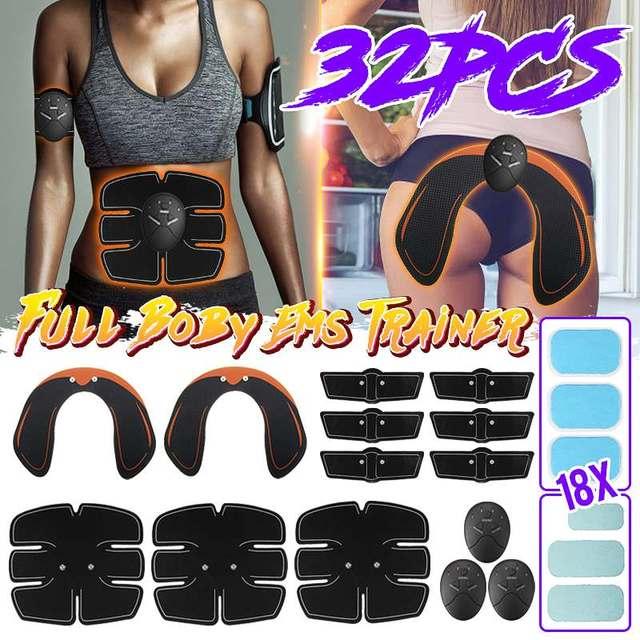 32 Pçs/set EMS Trainer Abdominal ABS Músculo Abdominal Hip Conjunto Corpo Perda de Peso Emagrecimento Cinto de Massagem Estimulador Muscular Elétrica