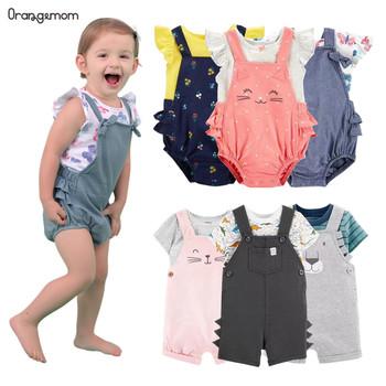 2020 marka letnia dziewczynka ubrania 2 sztuk zestawy dla niemowląt chłopców odzież dla niemowląt nowonarodzone-2 lat odzież dla niemowląt kostium dinozaura dla dzieci tanie i dobre opinie OrangeMom COTTON Kobiet 7-12m 13-24m Drukuj O-neck Jednego przycisku Pajacyki Bez rękawów 040101 Pasuje prawda na wymiar weź swój normalny rozmiar