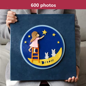 Image 4 - PA5 6 inch photo album 700 photos page type children family album creative felt paste cartoon cover baby grow album
