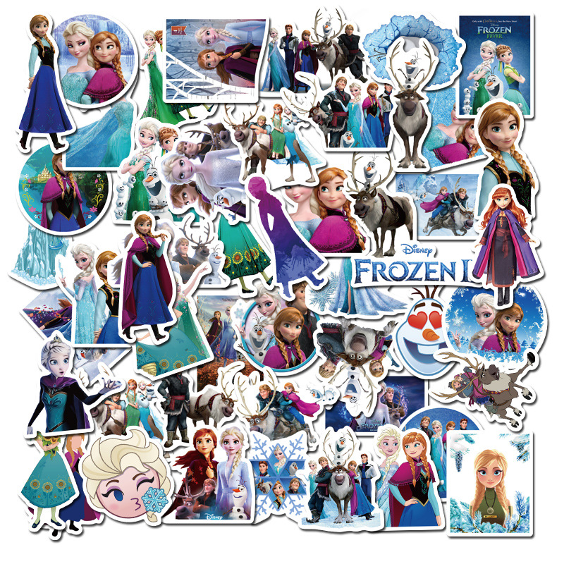 New 50 Pcs Disney  Sticker  Frozen 2 Princess Sophia Graffiti Stickers On Scooters Scooters Suitcases Cartoon Stickers