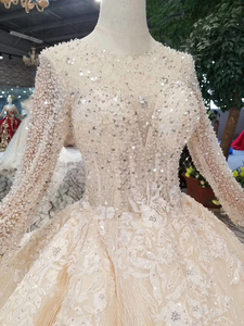 Image 5 - BGW HT43021 robe de mariée en cristal à la main Champagne col rond à manches longues Corset lacets dos robe de mariée avec longue mode de Train