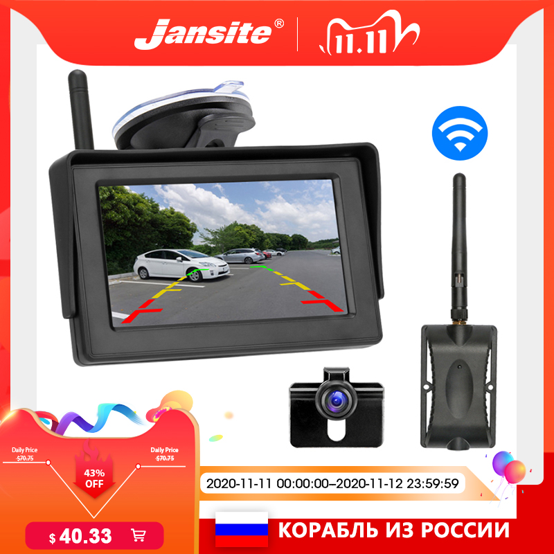 Jansite wireless backup camera 4 3 inch  TFT LCD car monitor reversing camera wireless with monitor rear view camera for car