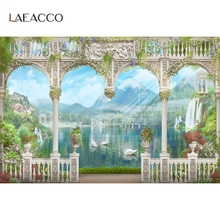Vintage Arch Door Spring Vine Swan Lake Mountain Flowers Scenic Photo Backdrops Photographic Backgrounds Photocall Photo Studio