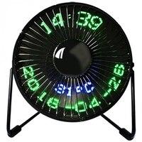 새로운 뜨거운 판매 usb led 시계 미니 팬 실시간 온도 디스플레이 데스크탑 360 홈 오피스에 대 한 냉각 팬|팬|   -