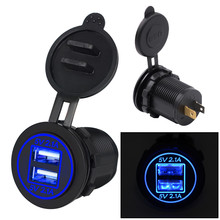 3.1A Waterdichte Dual Usb-poort Charger Socket Outlet 12V Led Voor Motorfiets Auto