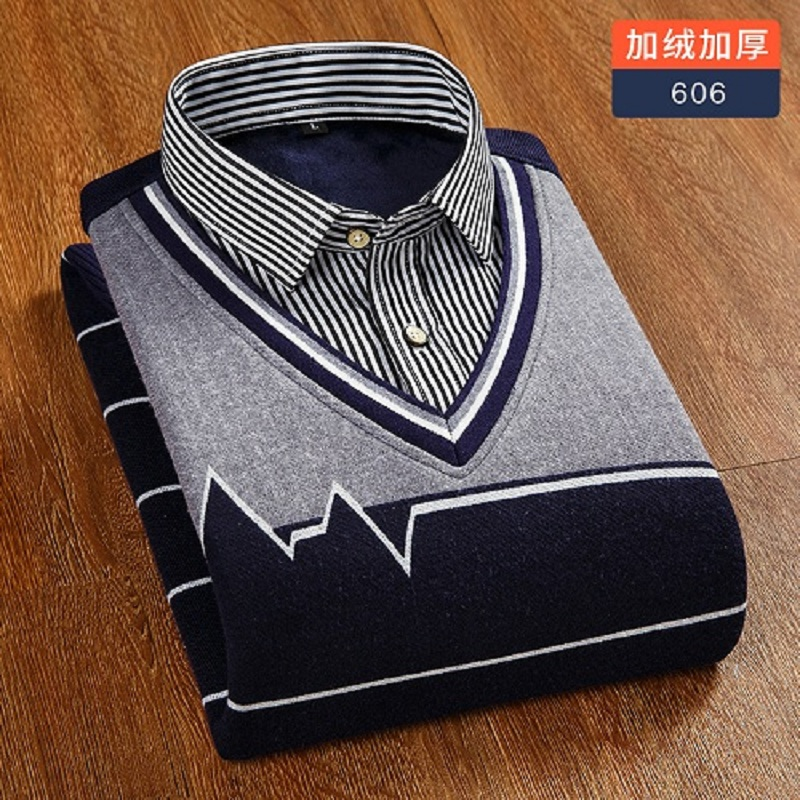 Winter Fake Two Pieces Warm Shirt Male V Collar Knitted Fashion Plush Thick Long Sleeves Shirt Men
