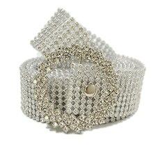 Women's  Rhinestone Wide Belt Silver For Female Fashion Waist Bride Wedding Crystal Diamond Chain Elastic Pearl off white belt