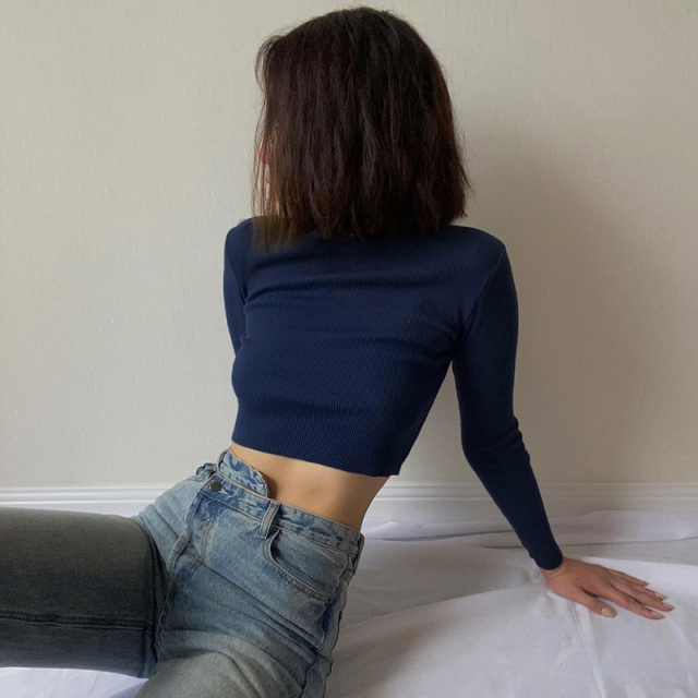 Cropped T-Shirt with Turtleneck