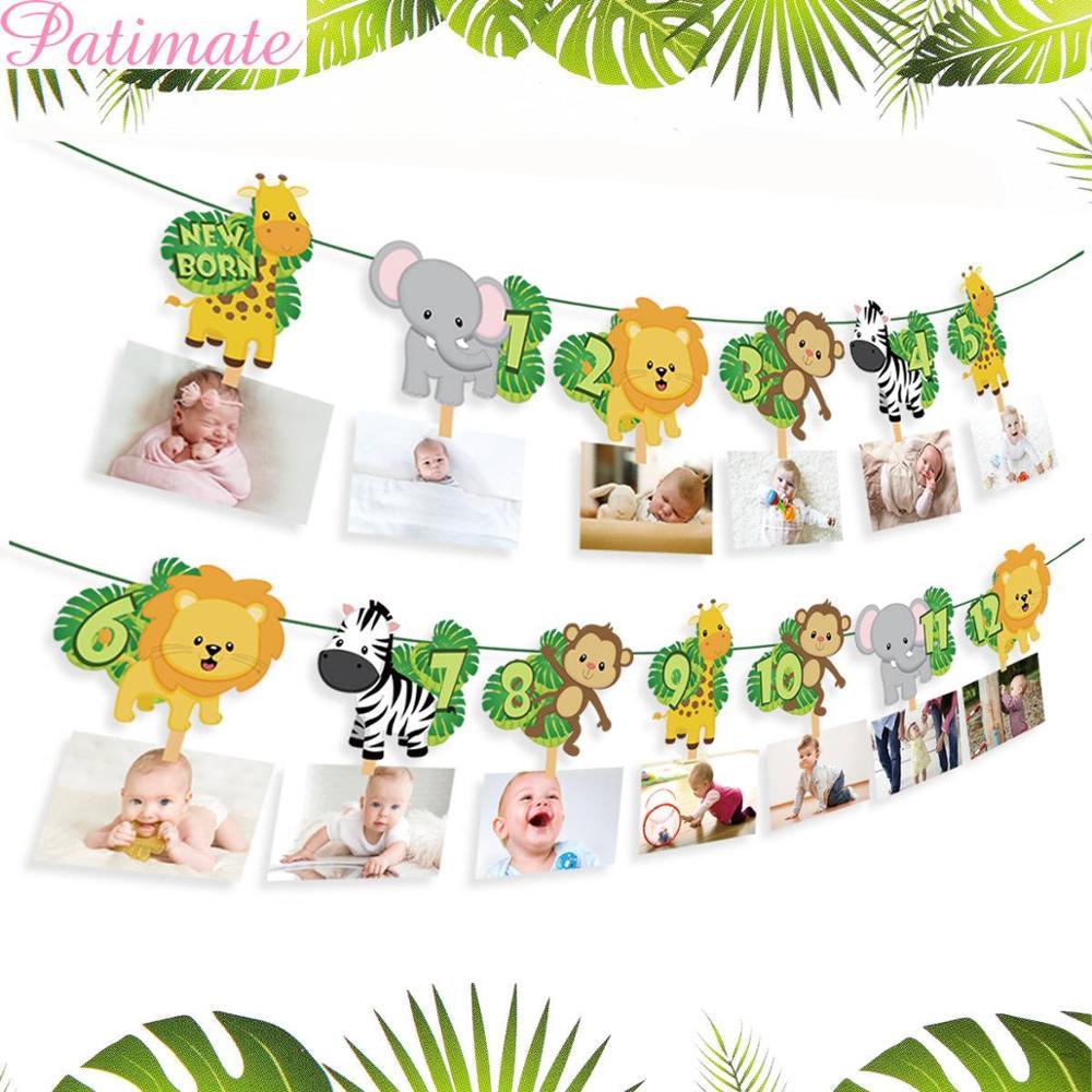 PATIMATE Jungle Animal Banner Cake Topper Flag Birthday Safari Theme Party Decorations Kids Favors