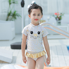 New Model Girls Two Pieces Swimsuit 2-7 Y Baby Girl Swimwear Children Swimming Wear Child Bathing Suits with Leopard Cat Pattern