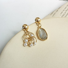 S925 needle temperament resin drop earrings asymmetrical Design metal circle pearls earrings for women jewelry