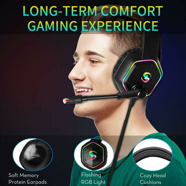 Professional Games Earphones LCD Portable HIFI Headset With Microphone Wired Headphones Audio Adjustable For PC phone 4