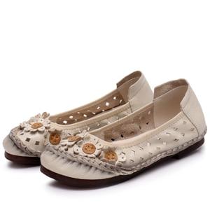 Image 2 - BEYARNEsummer בעבודת יד פרח נעלי נשים אמיתי עור סנדלי נקבה מוקסינים לופרס רך outsole נעליים יומיומיות flatsE870