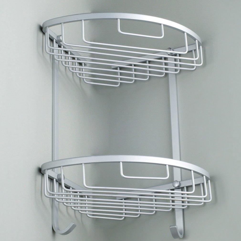 Bathroom Corner Shelf 2 Layer Space Double Tiers Triangle Shower Basket Shampoo Soap Cosmetic Storage Shelves Rack Aluminum New