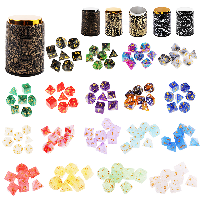 7pcs D20 D12 D10 D8 D6 D4 Polyhedral Dice For Dungeons And Dragons DND RPG MTG Board Game Mixed Color Dice Set & Dice Cup