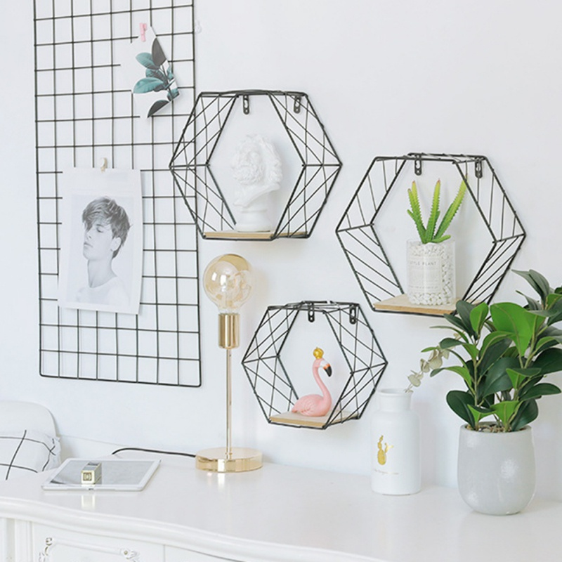 Nordic Iron Hexagonal Grid Wall Floating Shelf Combination Wall Hanging Geometric Figure Wall Decoration For Living Room Bedroom