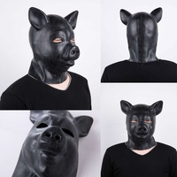 Pig's Head Cover Patent Leather Black Mask Natural Emulsion Alternative Toy Funny Mask Cosplay Mask restraints bdsm bondage gag