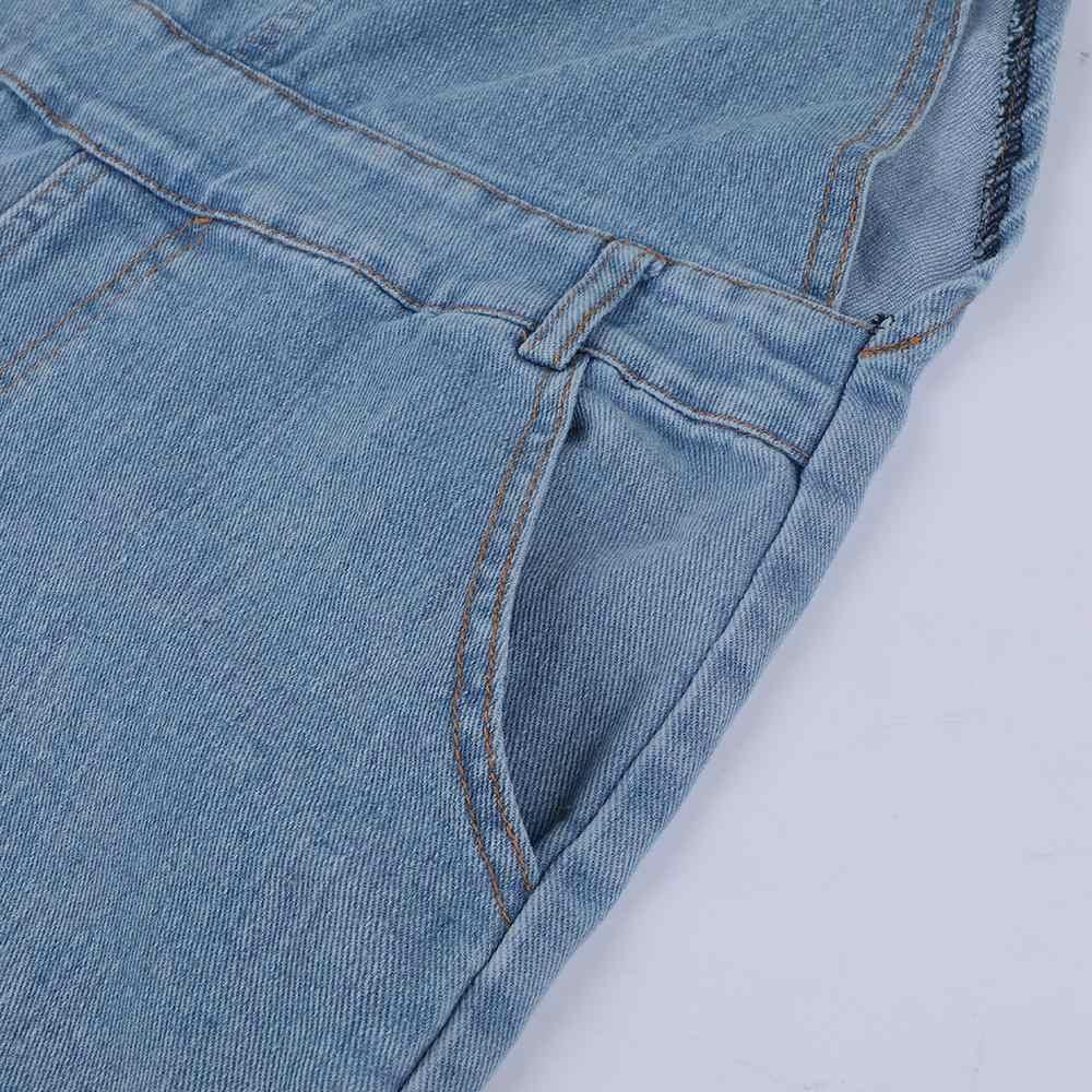 2019 neue Lady Blue Denim Overalls Overall-spielanzug Belted Loch Aushöhlen Tasche Frauen Casual Mode Weibliche Hosen Heißer