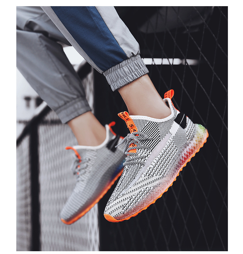 H9a33aac93ec24077a9e9c6f96fced3d0C Rainbow bottom coconut shoes flying woven running shoes