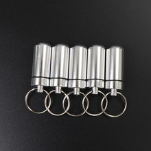 Porte-clé boîte à pilules étanche en aluminium, boîte à pilules étanche en aluminium, Cache-bouteille porte-médicament, porte-médicaments, conteneur, 1/2 pièces