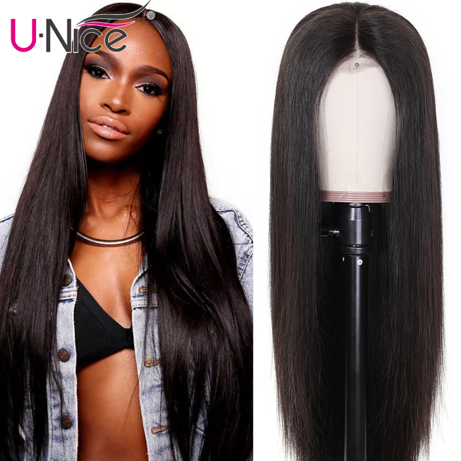 """H9a33e93d02094ed0bfd3b4bcd0ab3355u Unice Hair Wig 13*4/6 Brazilian Straight Lace Front Human Hair Wigs With Baby Hair Remy Human Hair Wigs For Black Women 10-26"""""""