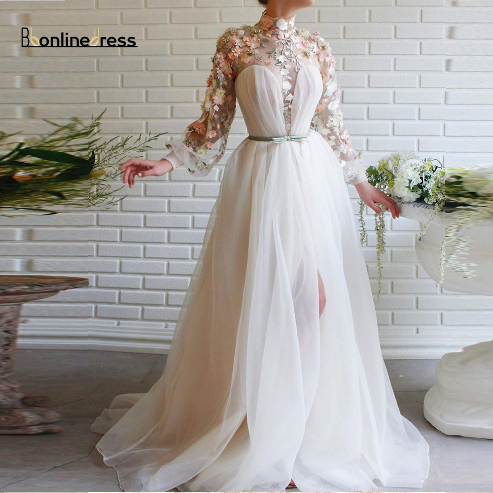 Bbonlinedress Elegant Evening Desses Lace Appliques Long Evening Dress High Collar Full Sleeves High-Split Formal Party Gown
