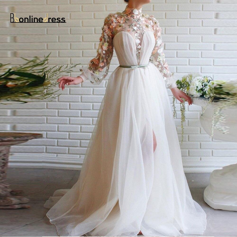 Bbonlinedress Elegant Evening Dresses Lace Appliques Long Evening Dress High Collar Full Sleeves High-Split Formal Party Gown