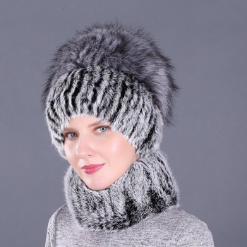 Newest Elastic Knitted Rabbit Fur Beanies And Collars with Fox Pomom Genuine Faux Fur Winter lady Cap Real Fur Hat & Scarf faux fur overlay slippers with rabbit ears