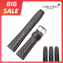 CARLYWET 20 22mm TOPLuxury Real Calf Leather Handmade White Stitches Wrist Watch Band Strap Belt For Rolex Omega IWC Tag Heuer
