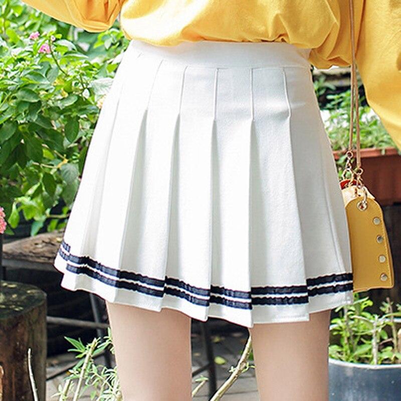 Женская мини-юбка с высокой талией, а-силуэт, летняя полосатая строчка, матросские плиссированные юбки с эластичной резинкой на талии