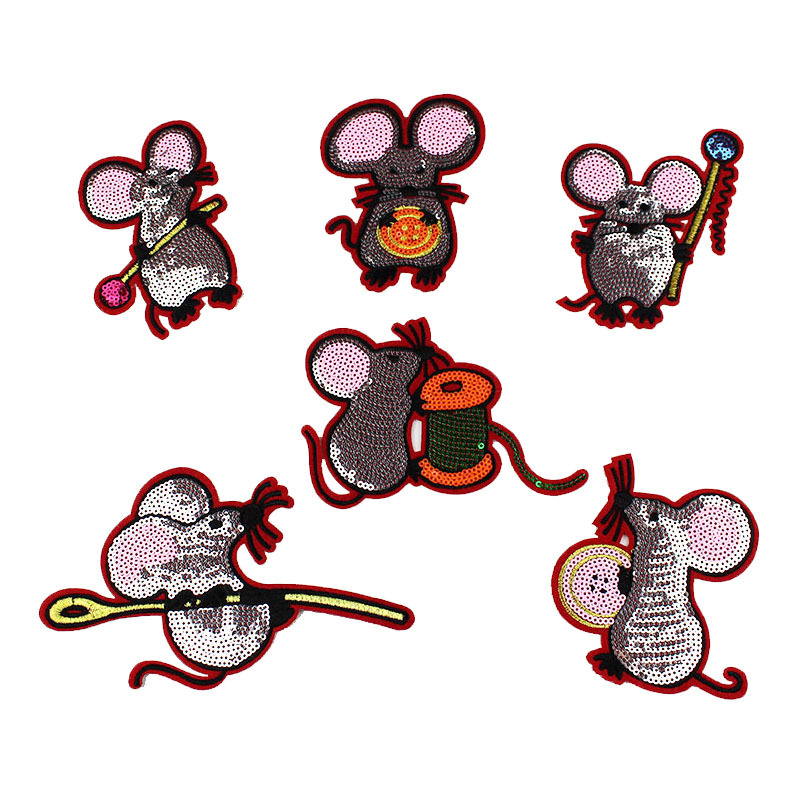 Sew On Patches 6 Pcs Cute Mouse Sequins Patches Vintage Embroidered Applique T-shirt Sew On Children's Clothing Coat Decoration