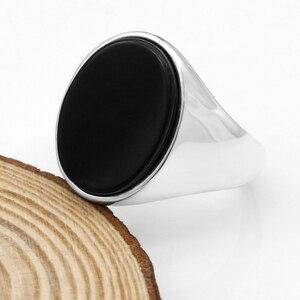 Image 4 - 925 סטרלינג כסף גברים טבעת עם שחור טבעי אוניקס אבן טבעת כסף תאילנדי פשוט עיצוב לגבר נשים תכשיטים תורכי