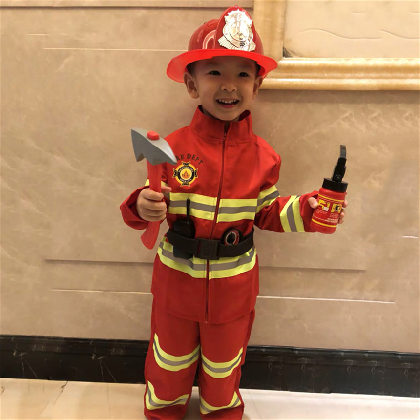 Halloween Costumes For Kids Firefighter Uniform Carnival Party Festival School Firemen Fire Drill Teenager Performance Clothing