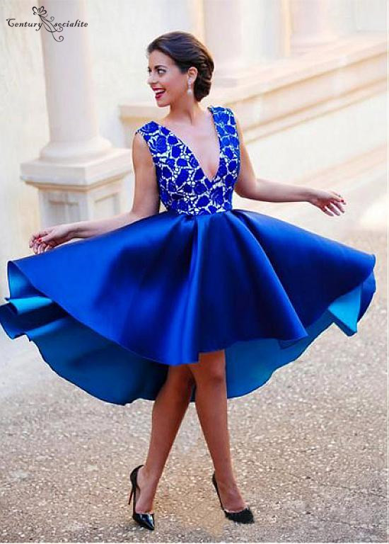 Royal Blue Sexy   Cocktail     Dresses   2019 Hi-Lo   Dress   Deep V-Neck Open Back Lace Satin Short Formal Party Gowns Cheap