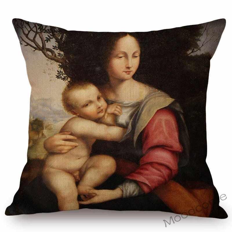 Funda de almohada de Raffaello renacentista con estampado al óleo de Saint Virgin Mary Madonna, funda de cojín de lino de ganso Da INCI