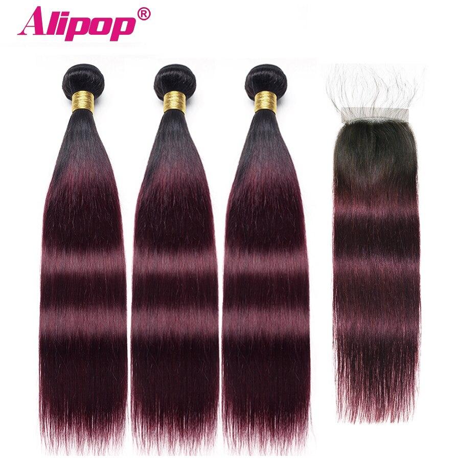 1b/99j# 3 Bundles Brazilian Hair Weave Bundles With Closure Ombre Human Hair Bundles With Closure Alipop NonRemy Straight Hair