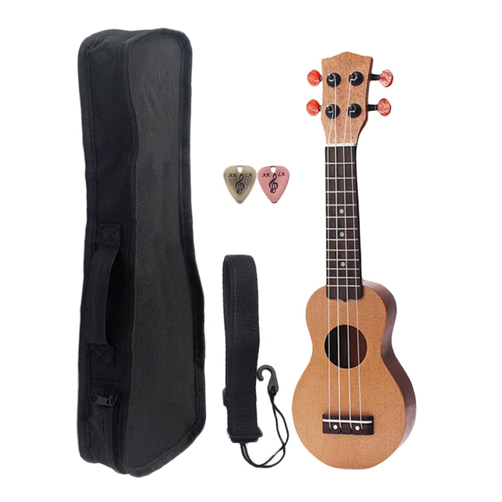 17 pouces ukulélé en bois Mini guitare hawaïenne 4 cordes Instrument de musique pour les amateurs de musique w/bag + pics de guitare en métal