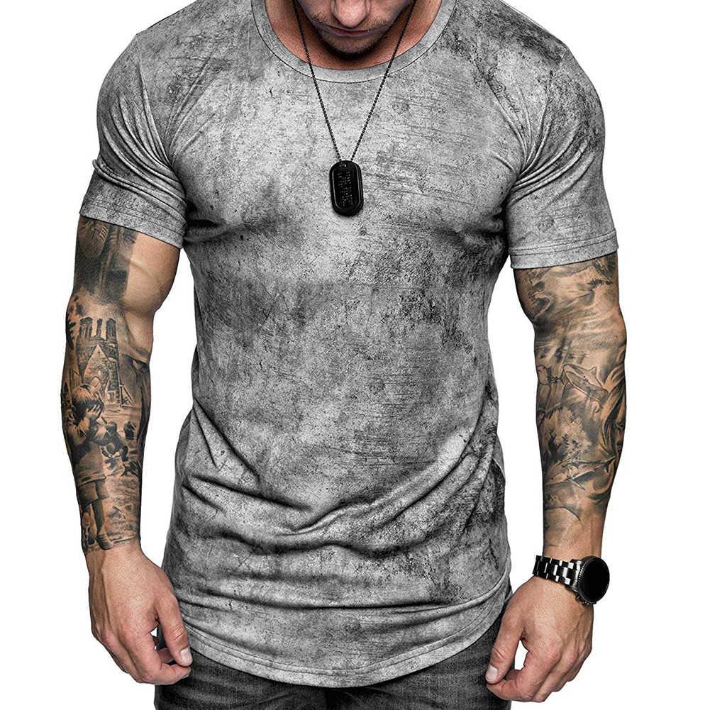 メンズプリント半袖とラウンド襟、カジュアル絞り染めコットンプルオーバートップ