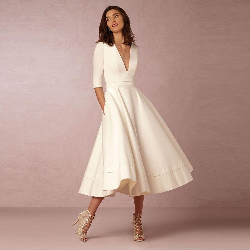 Élégant a-ligne col en V blanc Maxi robes demi manches Simple Sexy boîte de nuit longue robe couleur unie femme bureau tenue décontractée